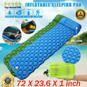 Inflatable Sleeping Mat Ultralight Camping Air Roll Pad Bed Mattress with Pillow