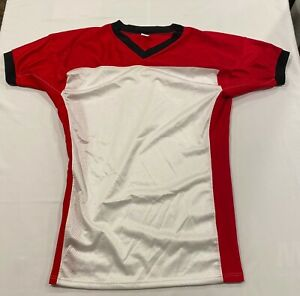 Details about NEW Vintage Men's 5XL Mesh Football Jersey - Red White Black