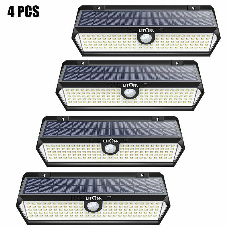 2 PCS LITOM 300 LED Solar Wall Lights Motion Sensor Security Outdoor Garden Lamp