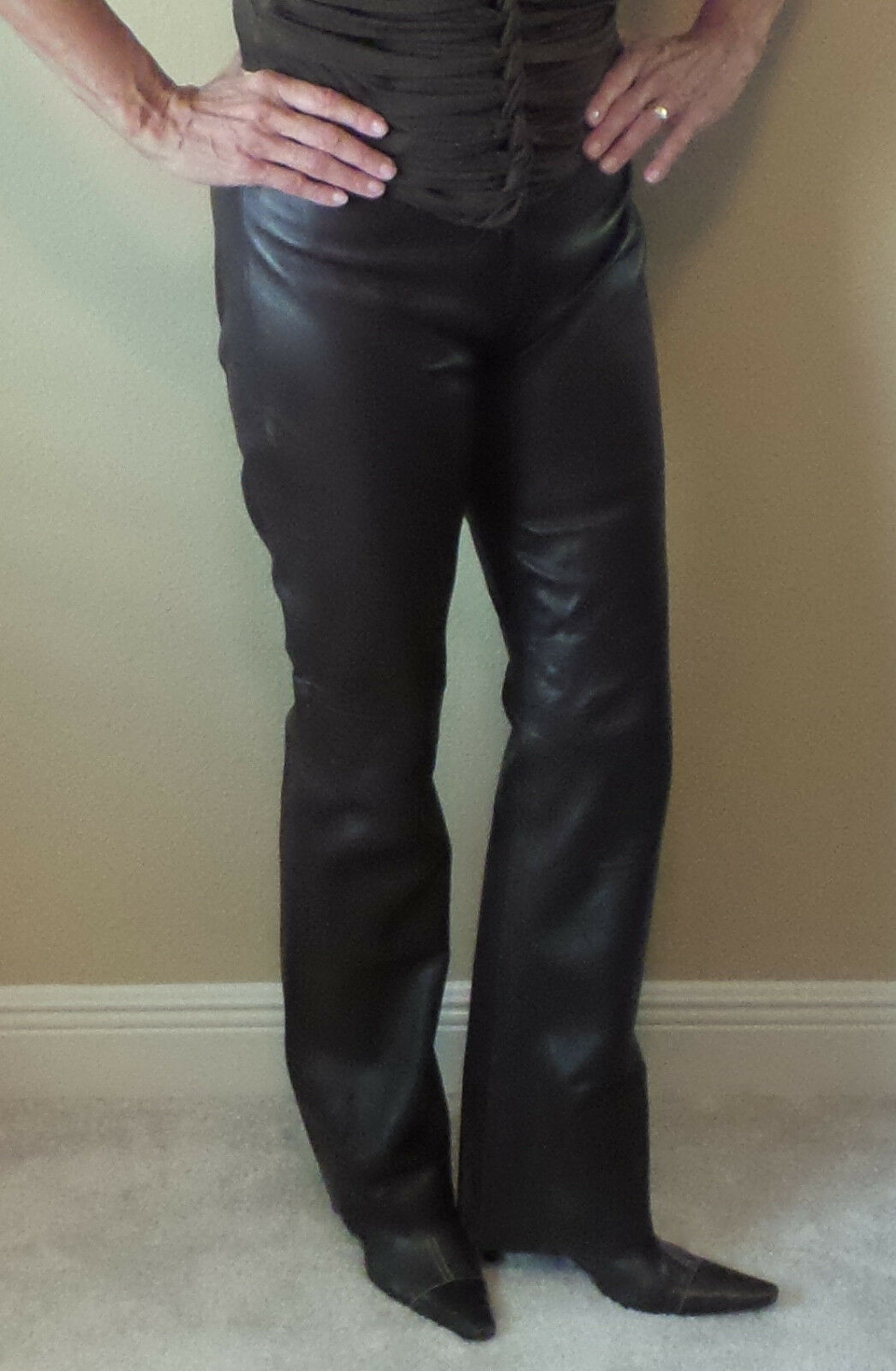 Womens Ladies Pants Leather Designer BCBG MaxAzria Brown Lined Fall Pre-owned