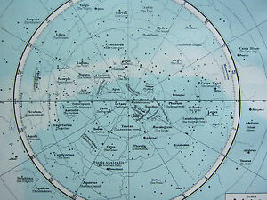 Image Is Loading 1895 LARGE VICTORIAN ASTRONOMY MAP  CONSTELLATIONS NORTHERN Amp