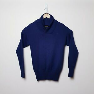 G-Star-Mens-Size-L-Raw-Correctline-Navy-Blue-Wool-Blend-Knit-Shawl-Neck-Sweater