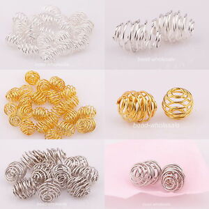 Lots-50pcs-Argent-Plaque-Or-Rotation-Motif-Boule-Spacer-Beads-Jewelry-Making