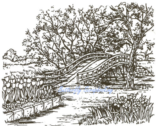 Spring Arrival Bridge, Wood Mounted Rubber Stamp NORTHWOODS, NEW P381