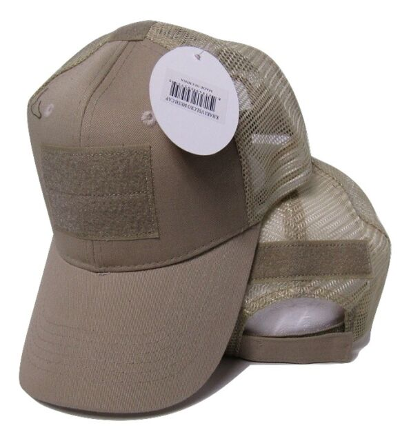Khaki Desert Mesh Operator Operators Tactical Cap Hat Patch adjustable strap 8bca95c6370