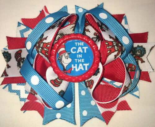 Cat in the Hat printed thing 1 2 Inspired Hair Bow Grossgrain Loopy Boutique