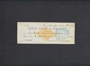 Details about 19th C  WELLS FARGO SAN FRANCISCO, CA ~ MINING CHECK ~ SIGNED  ~ COMSTOCK LODE