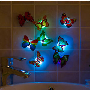 1X-Change-Colors-Stick-on-Butterfly-Wall-Xmas-Decors-LED-Night-Light-Lamp-Beauty