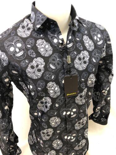 Herren Premiere Langärmlig Knöpfe Kleid Hemd Schwarz Weiß Abstrakt Totenkopf 302