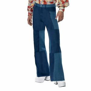 Adult-Mens-70s-Groovy-Hippy-Patchwork-Flares-Flared-Trousers-Fancy-Dress-Costume
