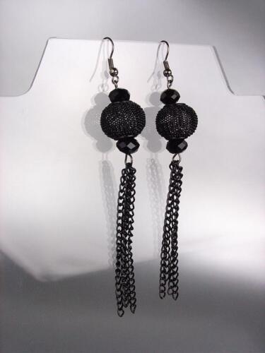 Chic en métal noir Mesh Bead Czech Crystals Tassel Long Boucles D/'oreilles