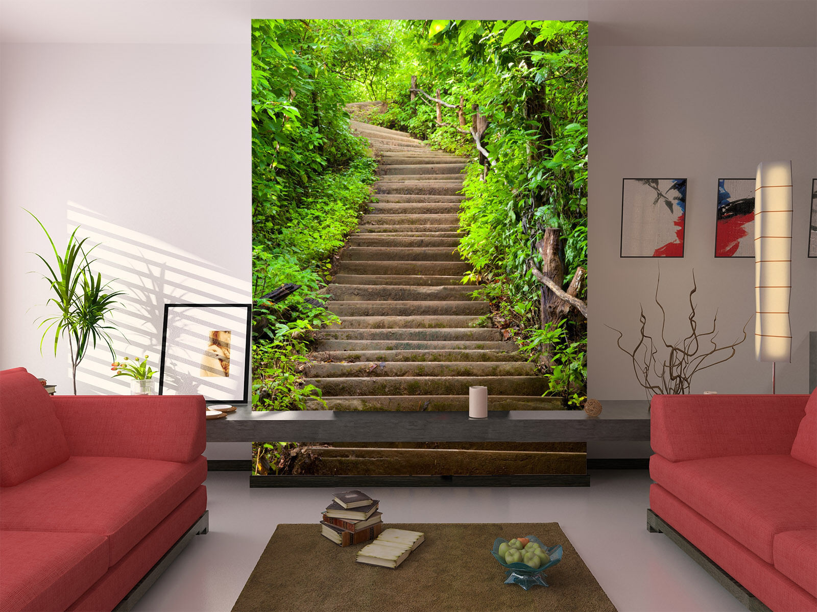 3D Grün leaf stair 434 Wall Paper Wall Print Decal Wall Deco Indoor Wall Murals