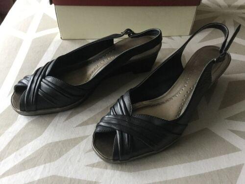 K E Clarks 4 Black Ladies Wedge Buone 2 taglia Toe Peep condizioni Shoes 1 d11wqP4