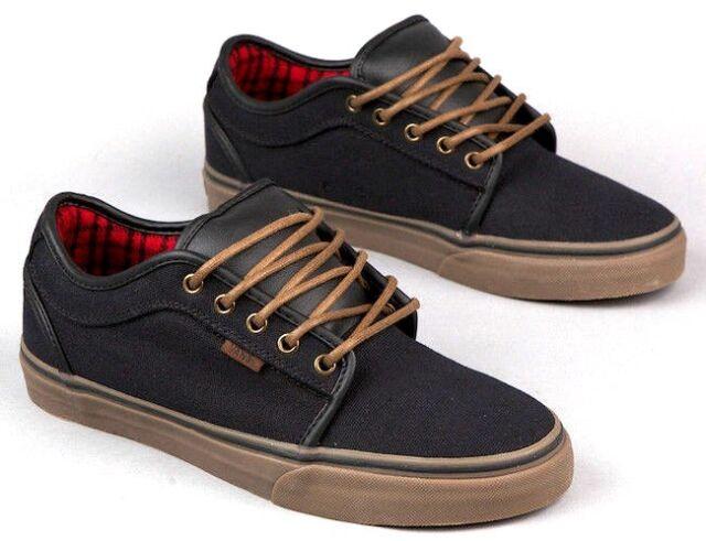 e8a51a19f9 VANS Mens 6.5 Womens 8 Chukka Low Black Gum Flannel Skate Shoes SNEAKERS