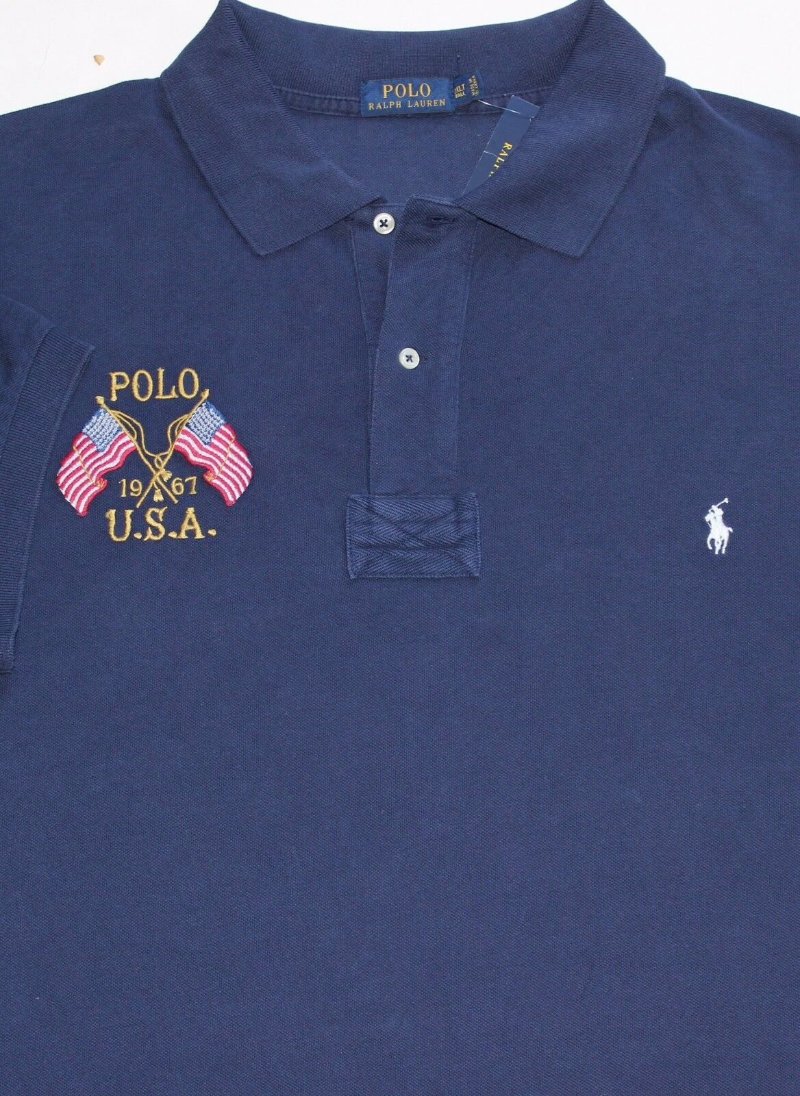 New Polo Ralph Lauren bluee Heritage Dual Flag Cotton Mesh Polo   3XLT