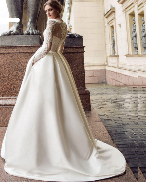 Lace Long Sleeve Wedding Dresses Satin A-line Bridal Gowns