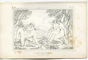 ANTIQUE-MYTHOLOGY-SATYR-PAN-CUPID-MUSIC-FLUTE-ARTISTIC-NUDE-WOMAN-ETCHING-PRINT