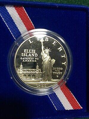 COA 1986 Statue of Liberty Coin 90/% Silver Dollar PROOF SOL Commemorative Box