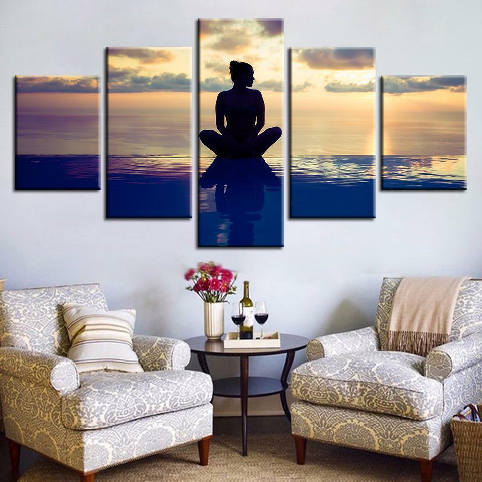 Relaxing Girl Yoga Meditation 5 panel canvas Wall Art Home Decor Poster Print