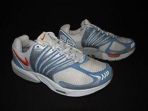Nike Zoom Air Womens Blue White Orange Silver Running Waffle Fill  US 7 EU 38