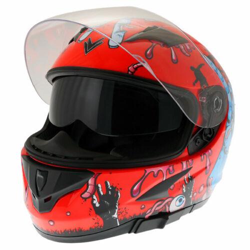 Frank Thomas FT36SV Full Face Motorcycle Helmet Sun Visor Race Zombie Orange J/&S