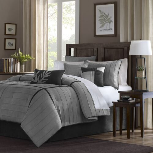 Luxury 7pc Grey /& Black Microsuede Comforter Set AND Decorative Pillows