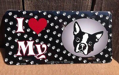 BOSTON TERRIER DOG I love my Car Aluminum License Plate