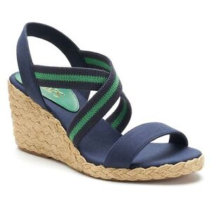 45aa5b6ed Image is loading Chaps-Dacey-Navy-Espadrille-Strappy-Wedge-Sandals-Shoes-