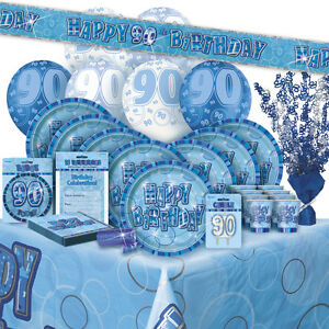 Image Is Loading AGE 90 90TH BIRTHDAY BLUE GLITZ PARTY RANGE