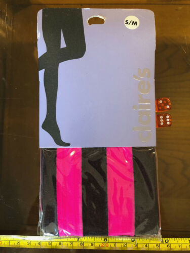 Claire/'s Claires Accessories S-M Tights Pink Black Vertical Stripe RRP £6