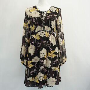 Ella Moss Womens Dress Black Floral Print Garden Party Daytime Mini Dress S 198 190392263883 Ebay