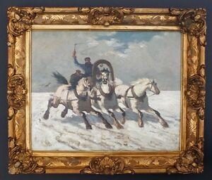 Troika-im-Schnee-um-1890-Russland-Polen