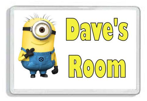 Personalised Despicable Me Minion Kids Bedroom Door Plaque *SIZE = 9.5 x 6.5cm*