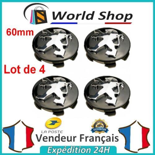 Lot 4 Centre de roue Peugeot 60mm emblème moyeu cache centre 60 mm NOIR LOGO TB
