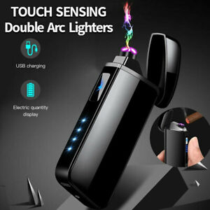 Dual-Arc-Plasma-Lighter-Electric-Flameless-Windproof-USB-Rechargeable-Lighters