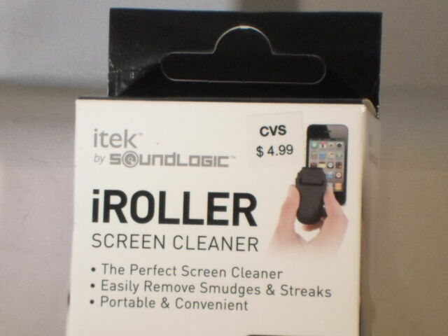 NEW IN BOX 1 ITEK SOUND LOGIC iROLLER SCREEN CLEANER PORTABLE W//COVER BLACK G-3