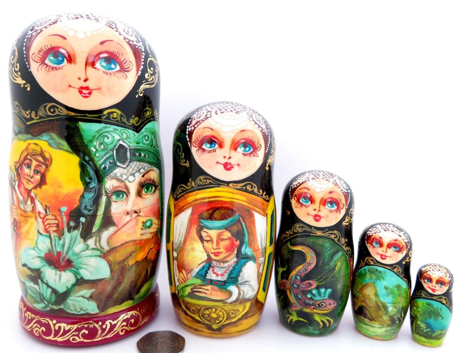 Fiore di pietra MATRIOSCA amante di rame montagna russa 5 bambole di nidificazione Regalo