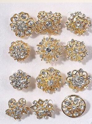 New 12Px wholesale lot crystals Rhinestone brooches flower floriated brooch pins