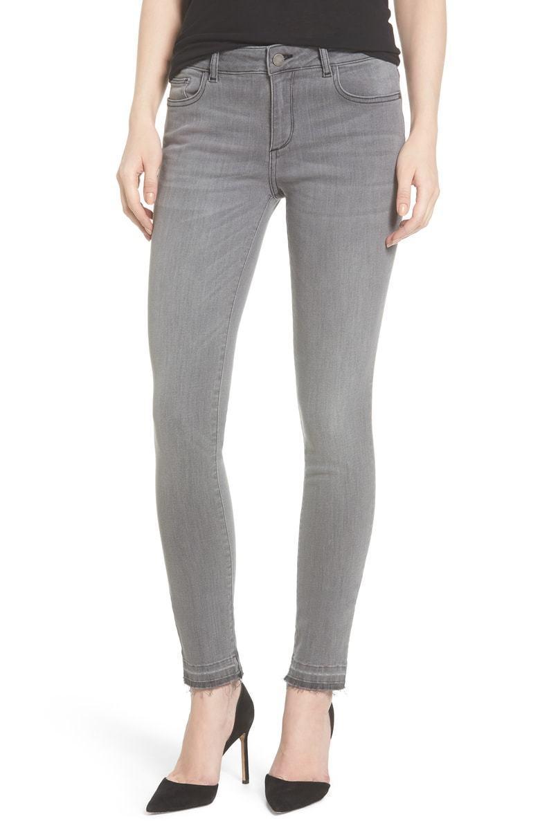 DL1961 Slim Skinny Ultra Stretch Florence Grey Jeans Raw Hem Size 31X31 NEW