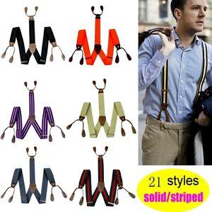 New-Adjustable-Mens-Suspender-Solid-Button-hole-unisex-Suspenders-Braces-BD7H