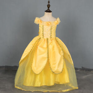 US-STOCK-Girls-Beauty-and-the-Beast-Princess-Belle-Party-Gown-Pageant-Dress-O18