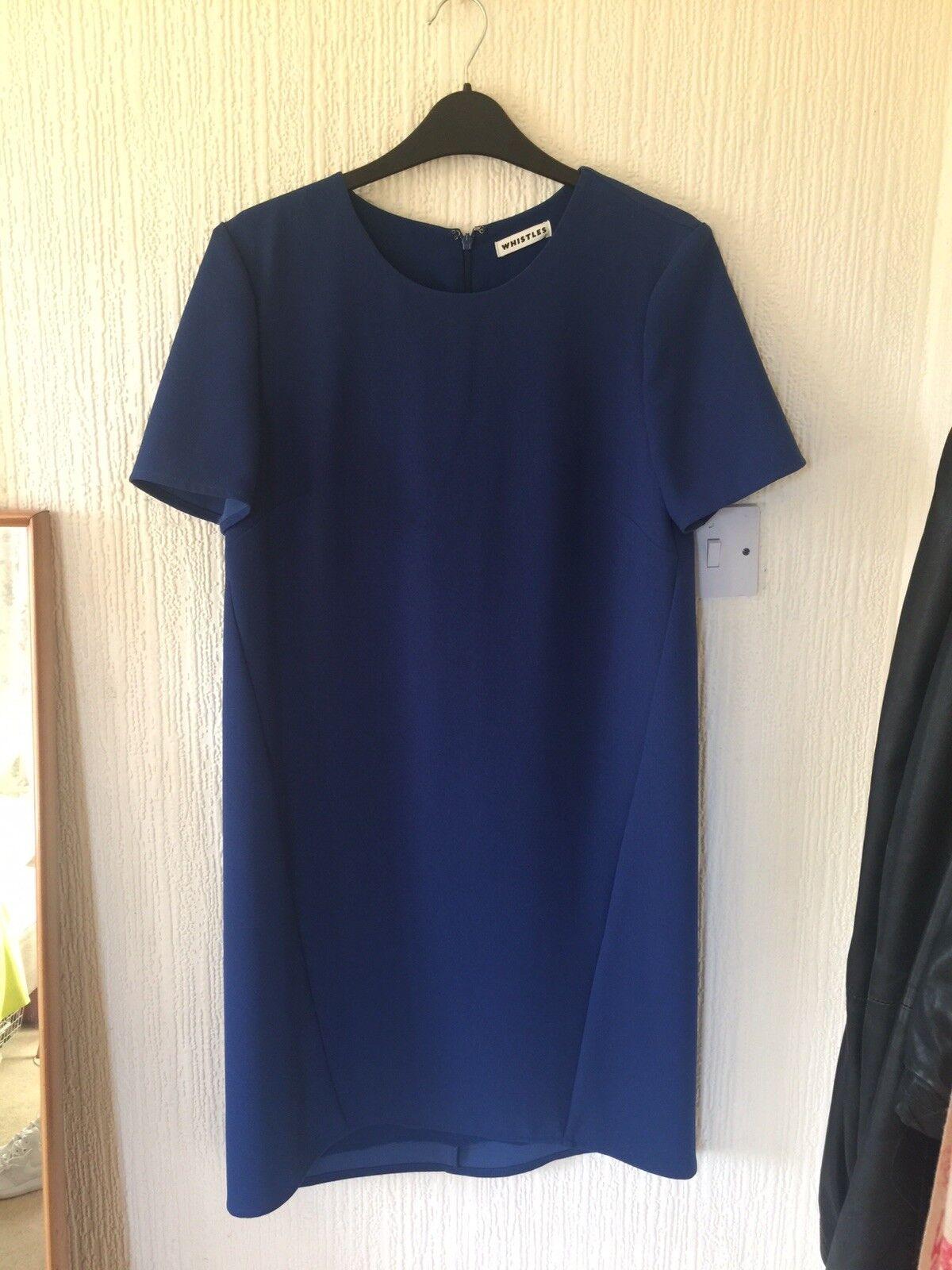 Whistles Blau Crepe Shift Dress Brand New Größe 10 Excellent Condition