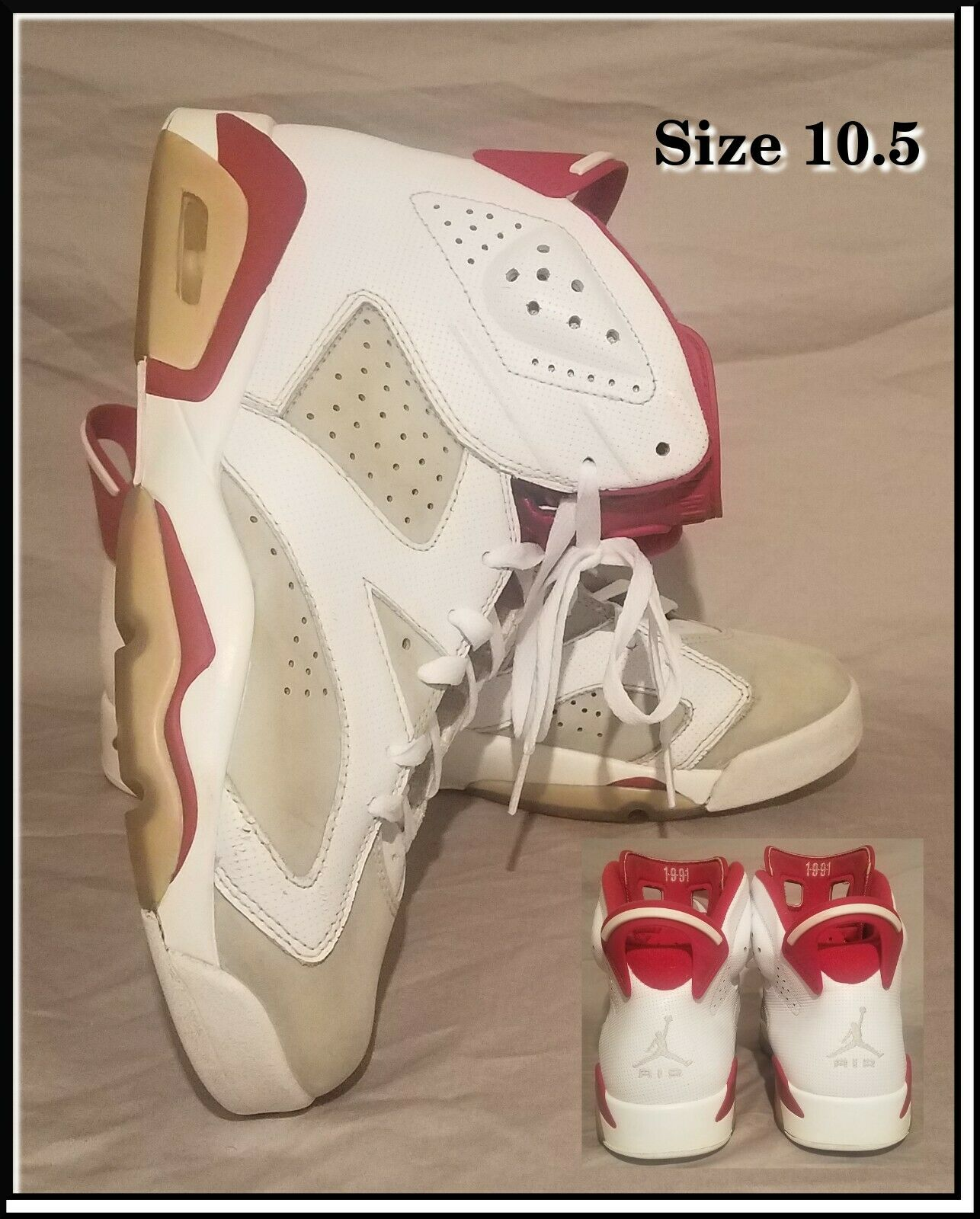 Air Jordan Retro 6 6 6 VI Size 10.5 Alternate White Red 384664-113 Men's Sneakers a1eb38