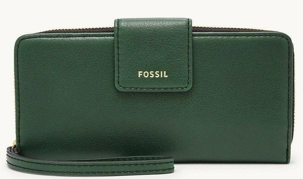 * TEST Madison Zip Clutch Spruce Green Leather Wristlet NWT SWL2228366 FS