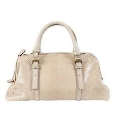 39748 auth BOTTEGA VENETA pale taupe SNAKESKIN leather DOCTORS Handbag Bag