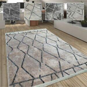 Details zu Wohnzimmer Teppich m. Rauten Muster, Skandinavischer Stil, Weich  - Soft Garn