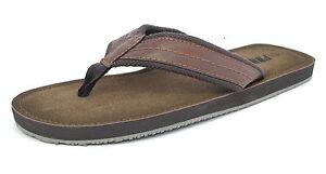 a1d8a6b4edeab Homme aspect cuir bout Post tongs plage été chaussures sandales ...