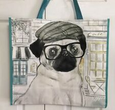 Pug B+W Photo AD-P92R2BLN with Red Rose Large Natural Jute Shopping Bag Chris