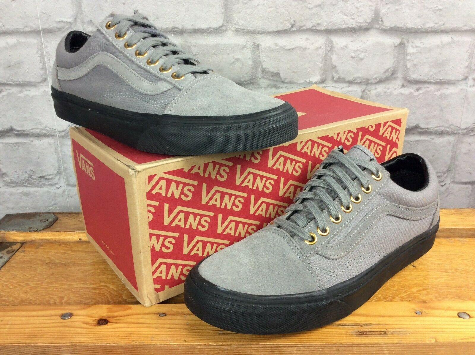 VANS LADIES UK 6 EUR 39 OLD SKOOL grau schwarz TRAINERS CASUAL