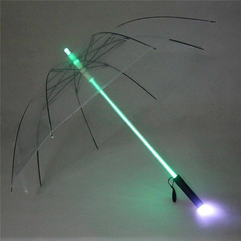 Plastic Umbrella Rain Transparent Led Flashing Holder Roller Windproof Hiking